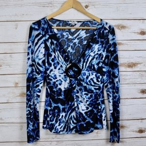 Cache Blue Animal Print V Bling Twist Top M